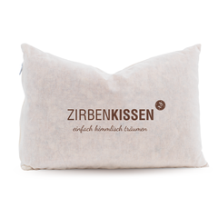 "Zirben Familie Original Swiss Pine Pillow 30x20 Nature - ""Simply dream heavenly"""