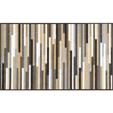 Kleen-Tex wash + dry doormat | Mikado Stripes Nature | ... washable mat with rubber edge!