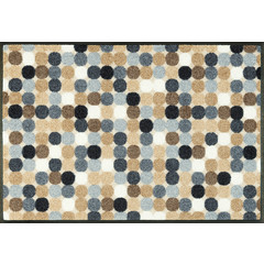 Kleen-Tex wash + dry doormat | Mikado Dots Nature | ... washable mat with rubber edge!