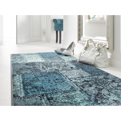 Kleen-Tex wash + dry doormat | Vintage Patches Turquoise | ... washable mat with rubber edge!