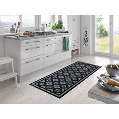 Kleen-Tex wash + dry doormat | Kitchen Tiles Black | ... washable mat with rubber edge!