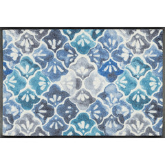 Kleen-Tex wash + dry doormat | Blue Ground | ... washable mat with rubber edge!