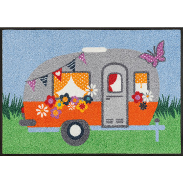 Kleen-Tex wash + dry doormat | Happy Camping | ... washable mat with rubber edge!