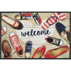 Kleen-Tex wash + dry doormat | Shoes Welcome | ... washable mat with rubber edge!
