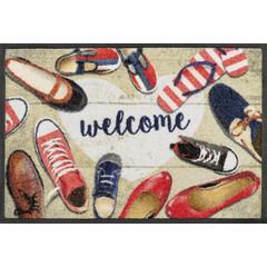 Kleen-Tex wash+dry  Fußmatte | Shoes Welcome |...waschbare Matte mit Gummirand!