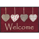 Kleen-Tex wash + dry doormat | Cottage Hearts Red | ... washable mat with rubber edge!