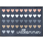 Kleen-Tex wash + dry doormat | Welcome hearts | ... washable mat with rubber edge!