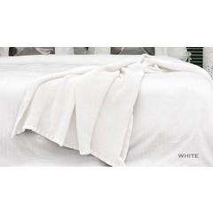 HnL Wohndecke Waffelplaid | 180/260 oder240/260 cm | weiß