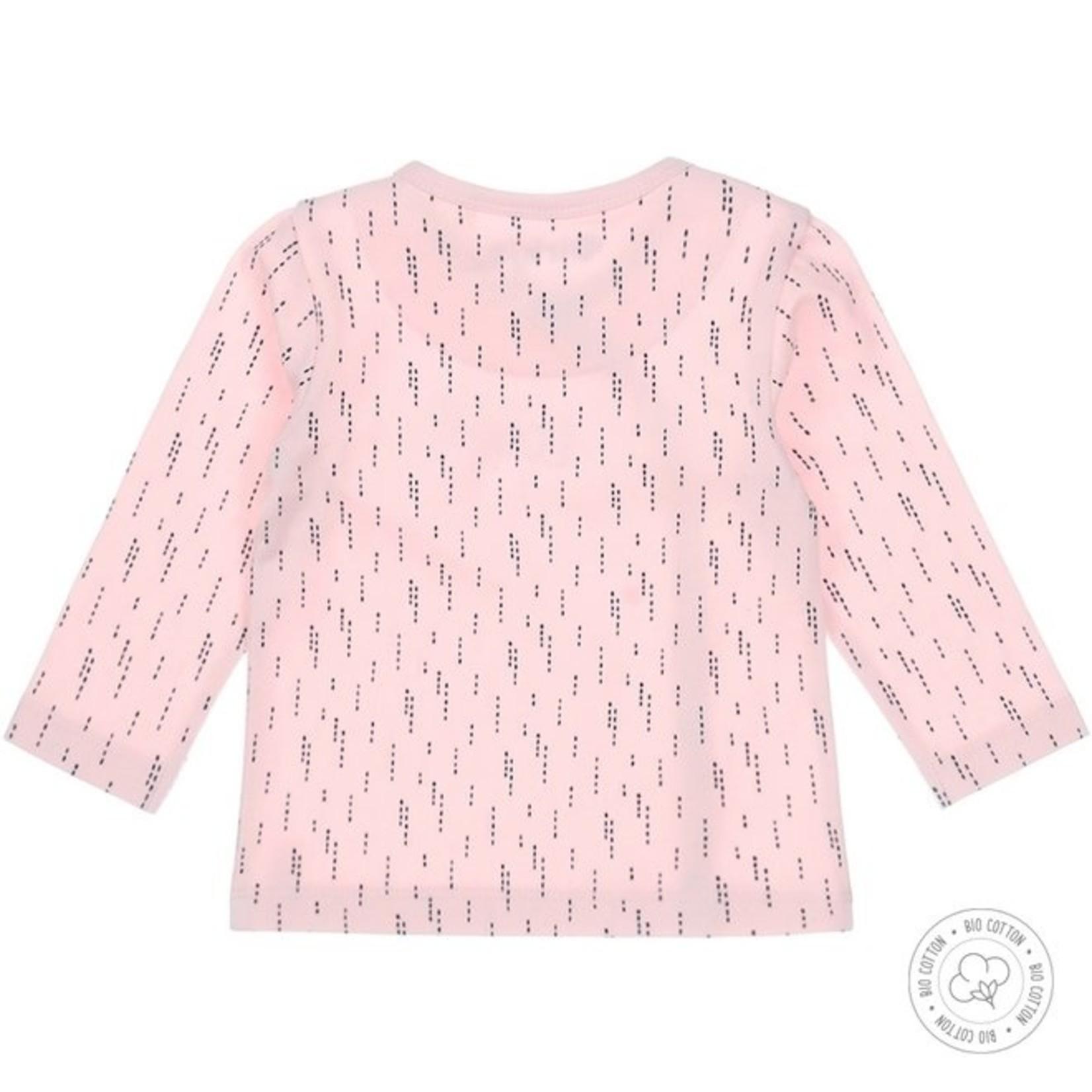 Dirkje Meisjes babyshirt roze met navy print