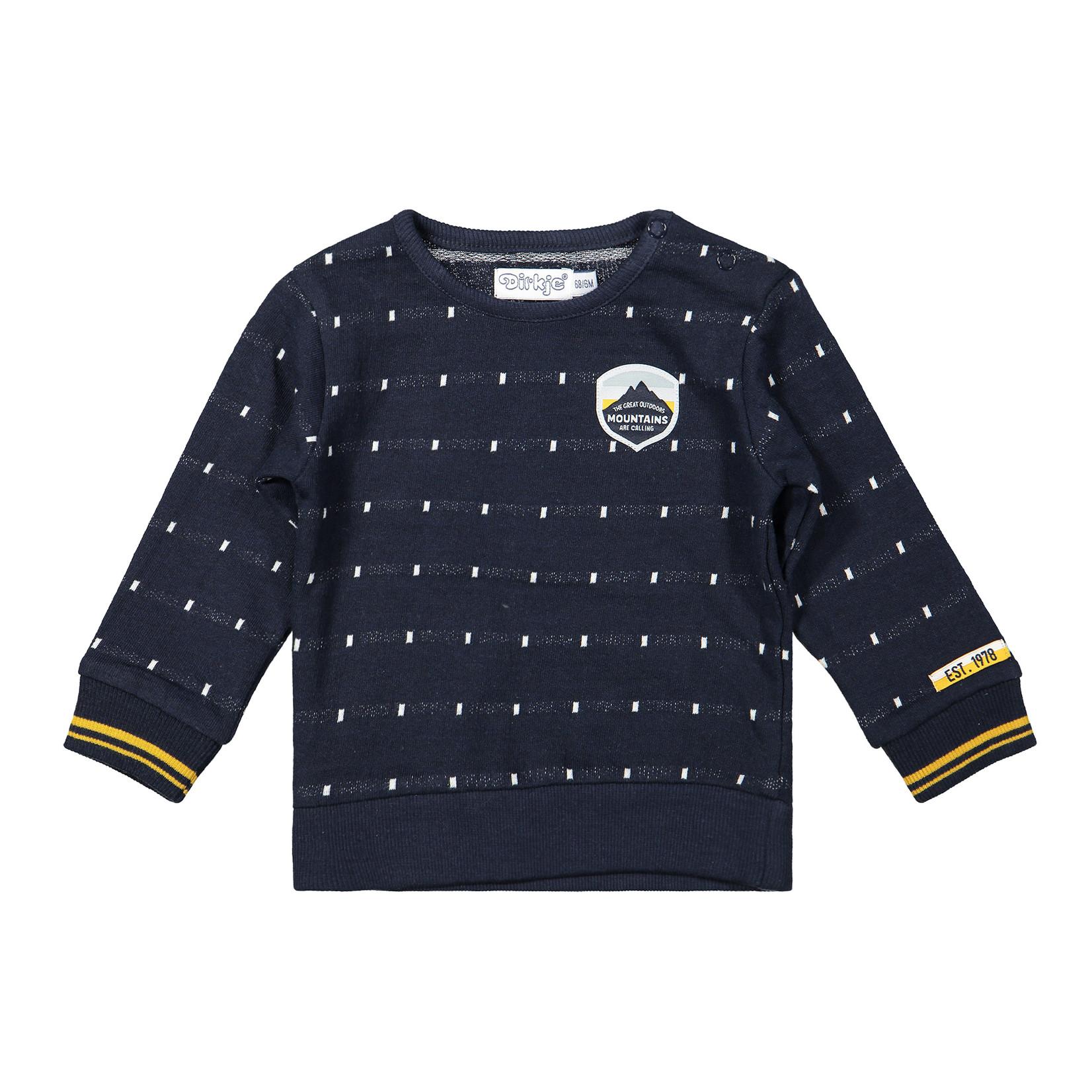 Dirkje Jongens sweater navy geblokt