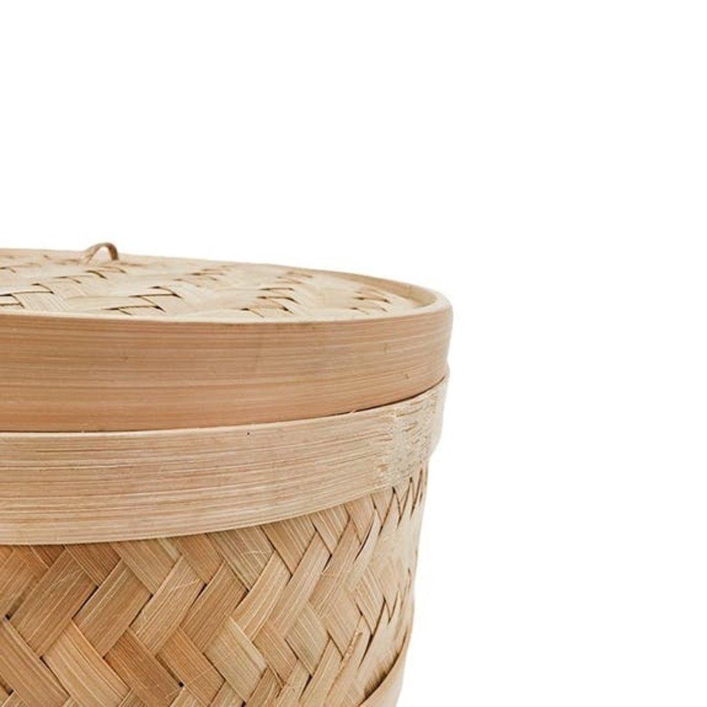 Dutchhouseofbrands Ronde mand bamboe met de hand gemaakt