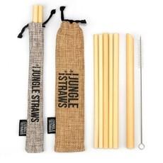 Jungle Culture Bamboe rietjes set van 6, hand gemaakt  met etui