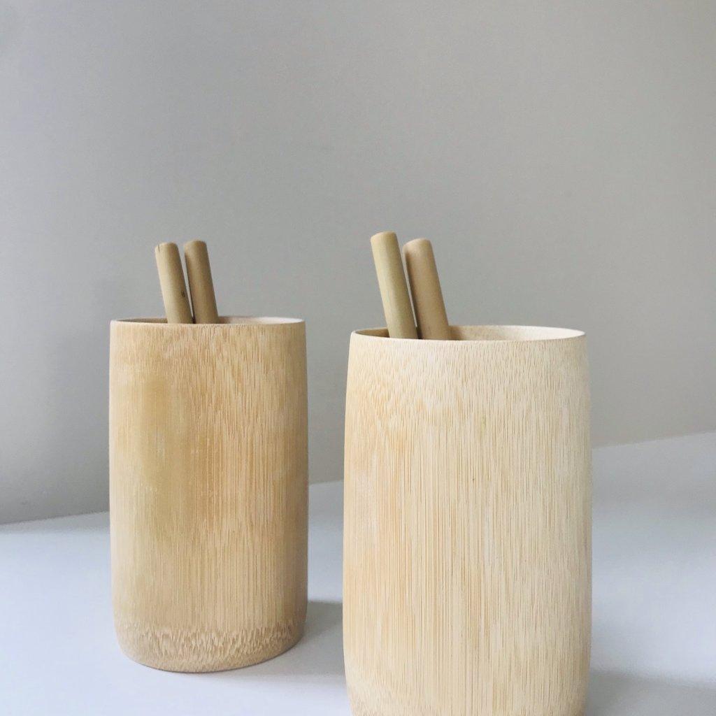 Bboo Bamboe beker naturel, met de hand gemaakt