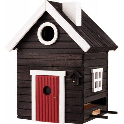 Multiholk Svart Hus,  het leukste nestkastje en voederhuisje in één