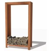 Hoge open houtopslag kast van Forno / Burni - Cortenstaal