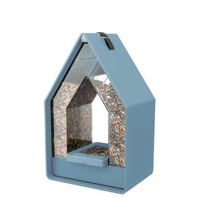 Landhaus vogel voederdispencer grijsblauw