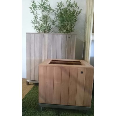 Plantenbak vintage grey teak 60x60