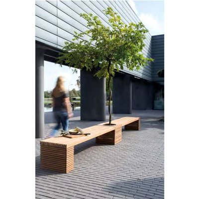 Modulo teak houten tuinbank met plantenbak