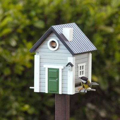 Multiholk Grijs huis,  het leukste nestkastje en voederhuisje in één