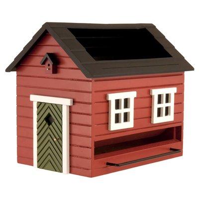 Rood vogelvoederhuis met vogelbadje