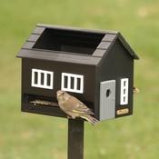 Zwart vogelvoederhuis met vogelbadje