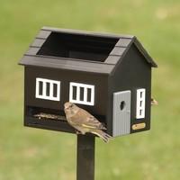 Vogelvoederhuisje met bad - zwart