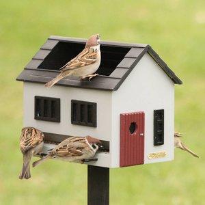Vogelvoederhuisje met bad - grijs