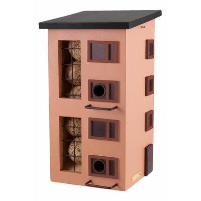 Drievoudig vogelvoederhuisje rood, vogel buffet-flat