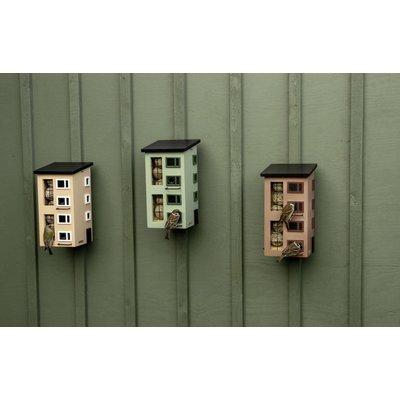 Drievoudig vogelvoederhuisje groen, vogel buffet-flat