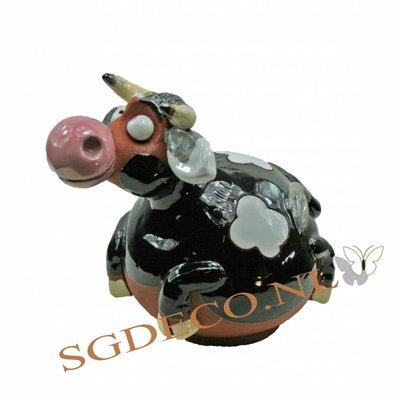 Decoratieve tuinbol Koe - zwart