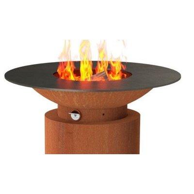 De luxe vuurschaal Forno base 2 (rond) - Cortenstaal inclusief BBQ-rooster