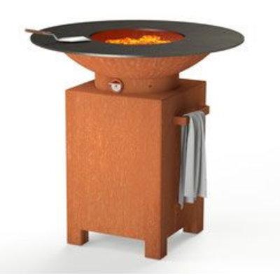 De luxe vuurschaal Forno base 3 (blok) - Cortenstaal inclusief BBQ-rooster