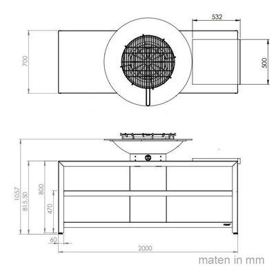 De luxe vuurschaal Forno base 7 buitenkeuken - Cortenstaal inclusief BBQ-rooster