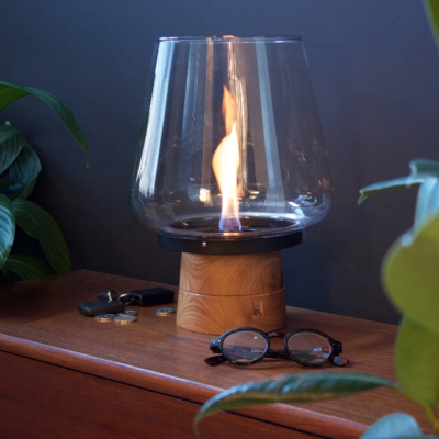 Tenderflame tafelhaard Amaryllis Oak - ronde brander - white mini haard voor binnen of buiten