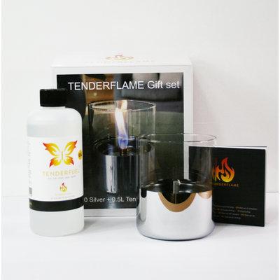 Tenderflame geschenk-set Lilly zilver, leuke kado met tenderflame Lilly en vloeistof