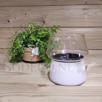 Tenderflame tafelhaard Amaryllis glass white 14 - ronde brander - witte mini haard voor binnen of buiten