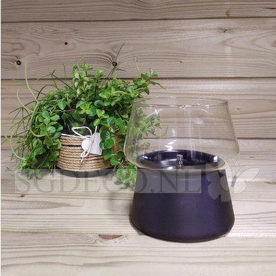 Tenderflame tafelhaard Amaryllis glass Black 14 - ronde brander - zwarte mini haard voor binnen of buiten
