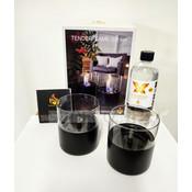 Tenderflame geschenk-set Lilly duo, leuke kado met 2x tenderflame Lilly zwart en vloeistof