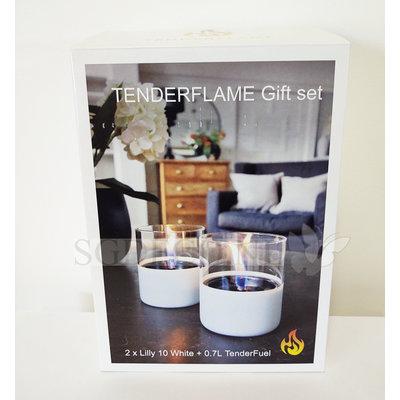 Tenderflame geschenk-set Lilly duo, leuke kado met 2x tenderflame Lilly wit en vloeistof
