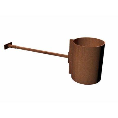 Muurbeugel Corten staal ter ondersteuning van de rook afvoer