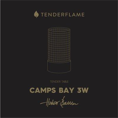 Tenderflame tafelhaard Camps Bay met ronde brander -  mat zwarte mini haard voor binnen of buiten