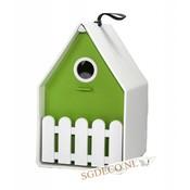 Landhaus vogelhuis wit / lime groen, het ideale nestkastje