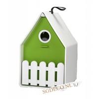 Landhaus vogelhuis wit / lime groen