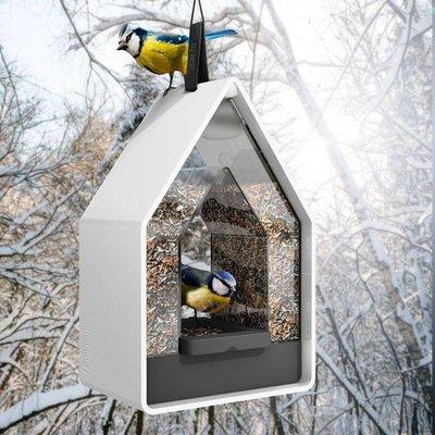 Landhaus vogel voederdispencer wit / antraciet