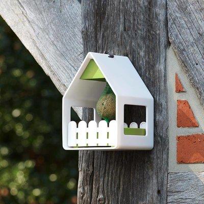 Landhaus 3 in 1 vogelvoederhuisje wit / lime groen