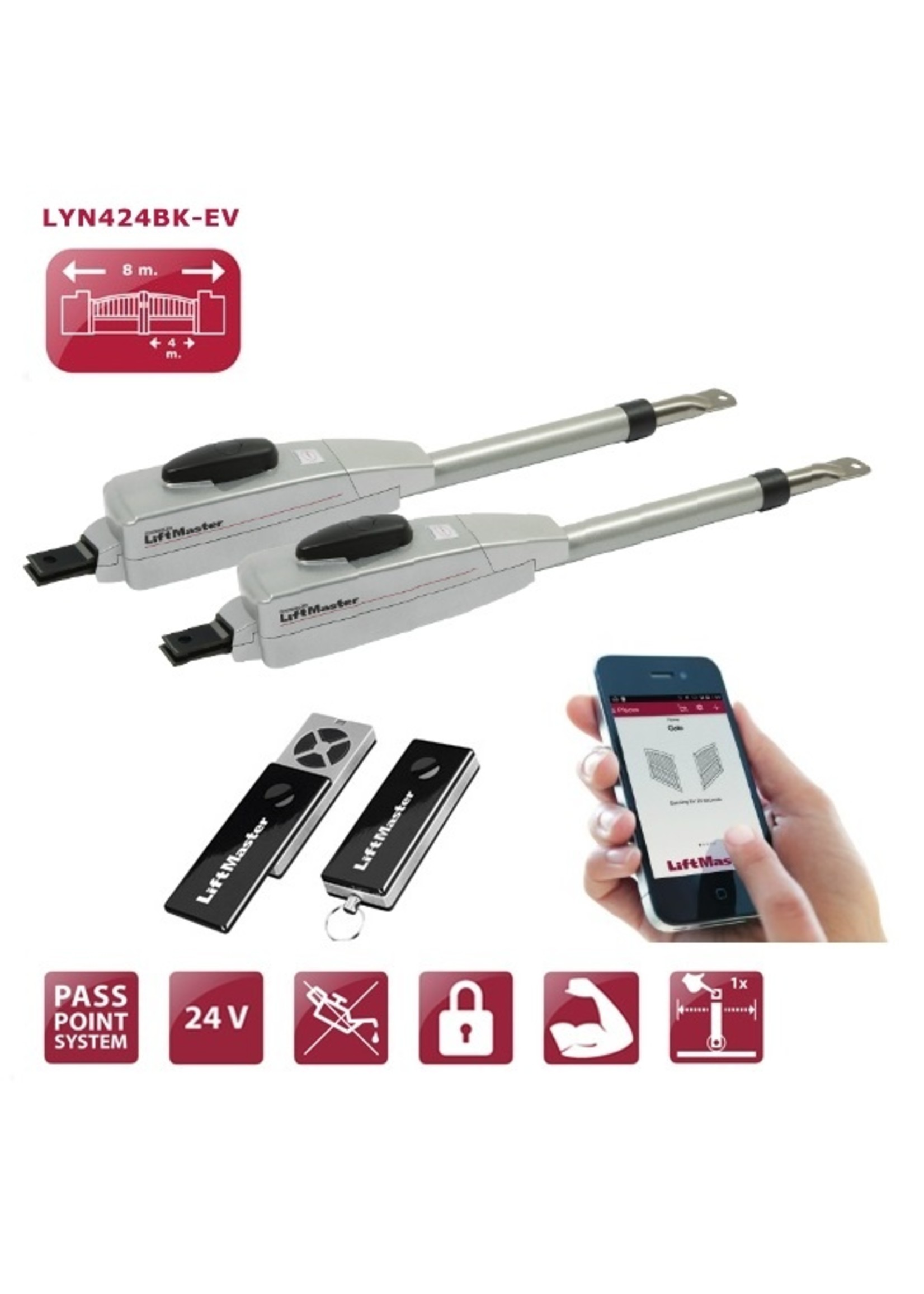 Liftmaster LYN424BK-EV 24V automatisme portail à battants LYN400-24