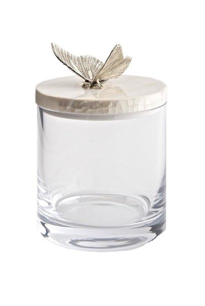 Glass / Mother of Pearl Butterfly Jar Silver