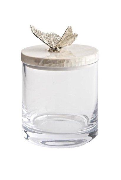 Pot Verre / Nacre Papillon Argent