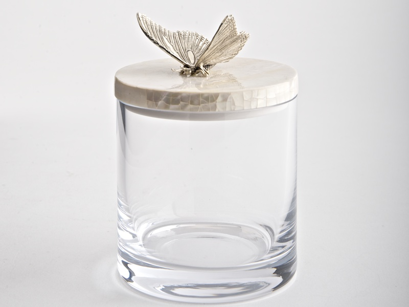 Glass / Mother of Pearl Butterfly Jar Silver-2