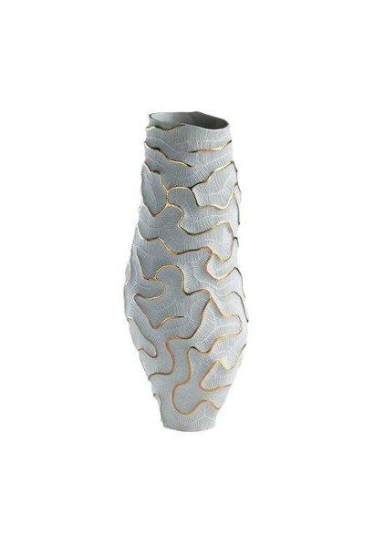 Vase Fossilia Monolite Blanc Or 25x25x59cm